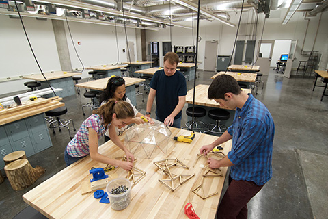 students building a prototype in Anderson design lab