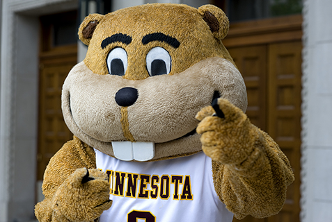 Goldy Gopher pointing at camera