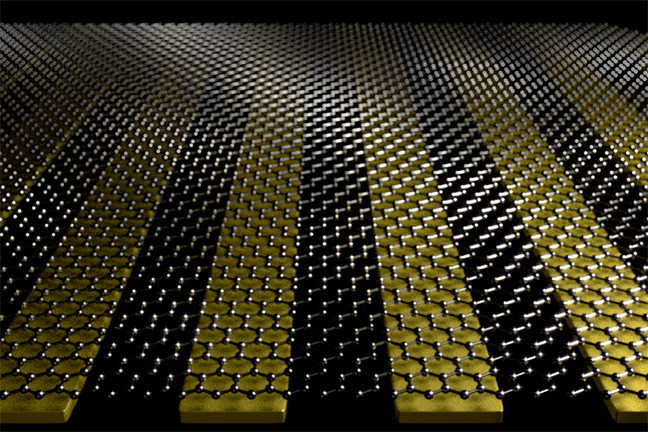 Illustration of graphene on gold strips