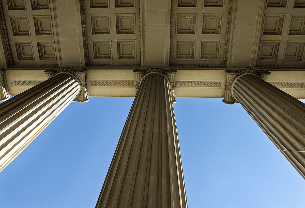 pillars of a building as seen looking up