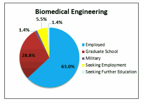 Biomedical Engineering pie chart: 63% Employed, 28.8% seeking further education, 5.5% Seeking Employment, 1.4% Military