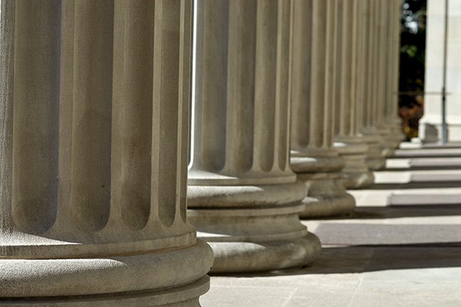 Close up photo of columns in front of Northrop