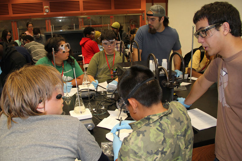 students working in a chemistry classroom
