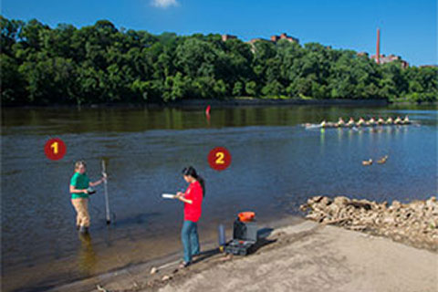 Students collecting samples in the Mississippi River