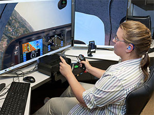 Student using simulator