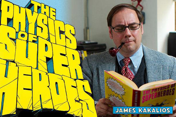 Comic book image of James Kakalios with pipe in his mouth looking at his book
