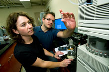 Paige Novak and her graduate student researcher Mark Lindgren in lab