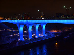 I-35W Bridge lit up at night
