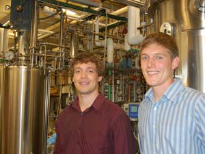 Joe Mullenbach and Alex Johansson in a water treatment facility