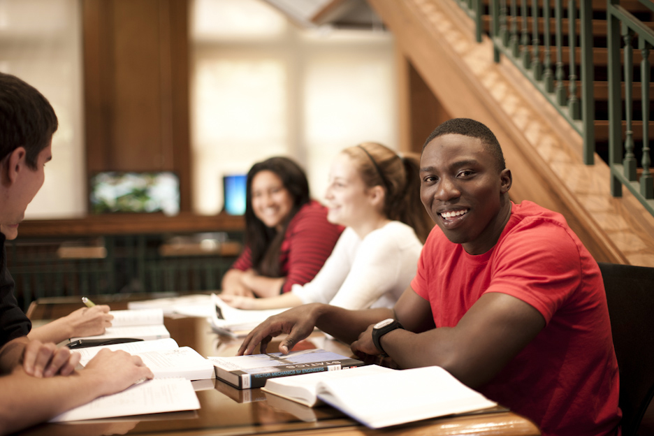 Students studying in Taylor Center in Lind Hall