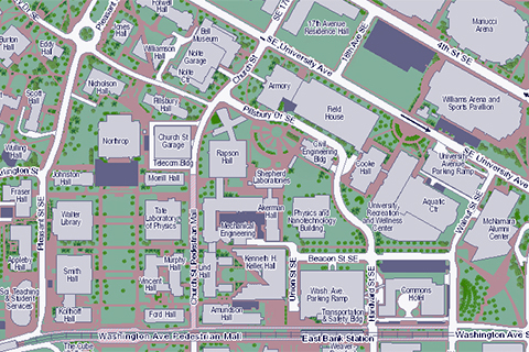 campus map of East Bank