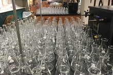 a sea of glassware for the general chemistry lab
