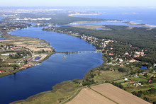 Aerial stock image of water, agriculture and city