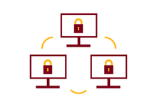 Three computers with locks in a circle illustration