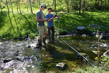 Students in river measuring water samples