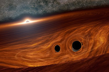 Artist conception of supermassive black hole and its surrounding disc of gas