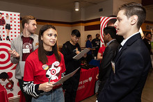 Target reps with students at Career Fair
