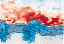 Image of the wind turbulence over breaking waves simulation